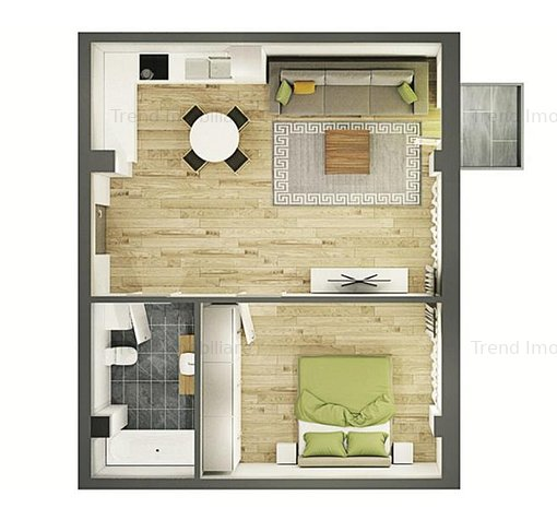 Apartament cu 2 camere - Plopilor - bloc nou cu CF - imaginea 1