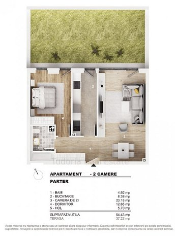 Apartament 2 camere decomandat, cu gradina - imaginea 1