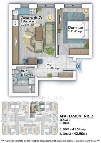 Apartament 2 camere Studio Titan Auchan  Theodor Pallady  Metrou 1 Decembrie - imaginea 1