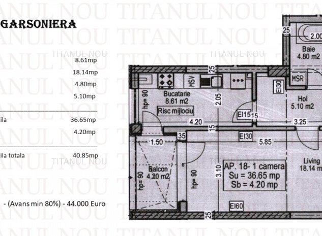 Garsoniera- Constructie Noua - Titanul - Nou - Metrou Teclu - imaginea 1
