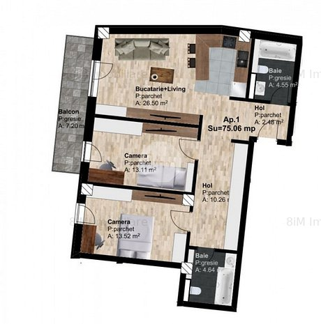 Vanzare Apartament, Decomandat, 3 Camere, 75 mp, Zona POD IRA ! - imaginea 1