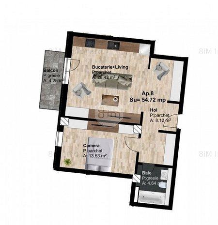 Vanzare Apartament Semidecomandat, 2 Camere, 55 mp, Zona POD IRA - imaginea 1