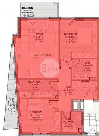 Vanzare Apartament Decomandat 3 Camere, 75 mp, Zona Mega Image ! - imaginea 1
