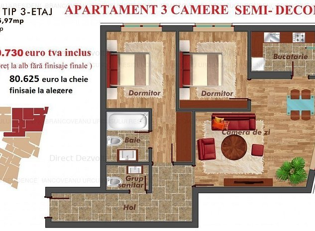 NOU! Metrou Pacii-Militari apartament 3 camere zona linistita - imaginea 1