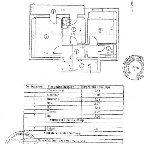 Apartament 2 camere de vanzare 52.58mp - imaginea 1