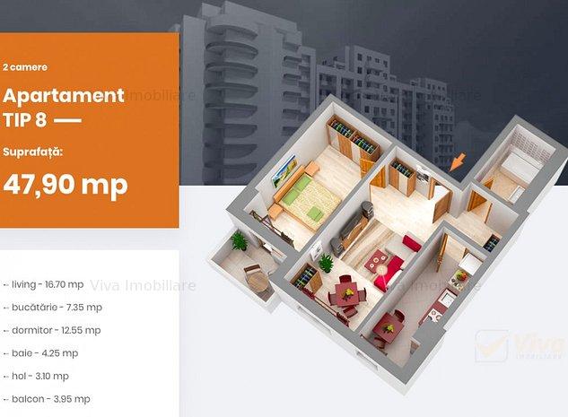 Apartament 2 camere 48 mp bloc nou Centru - PALAS, Comision 0% - imaginea 1