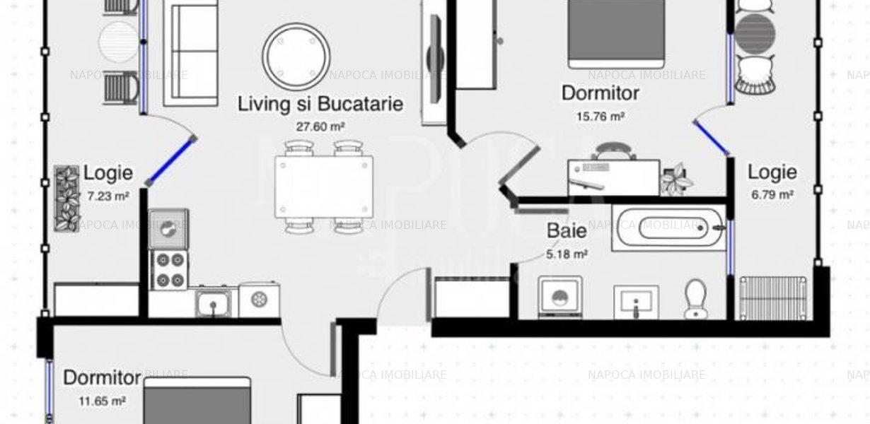Apartament 3  camere de vanzare in Europa, Cluj Napoca - imaginea 2