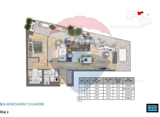 Apartament cu 3 camere de vanzare - tip B3 etaj 2 - imaginea 1