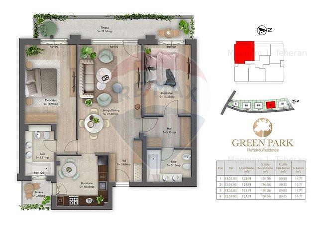 Apartament 3 camere de vanzare Herastrau - B3.1.3 - imaginea 1