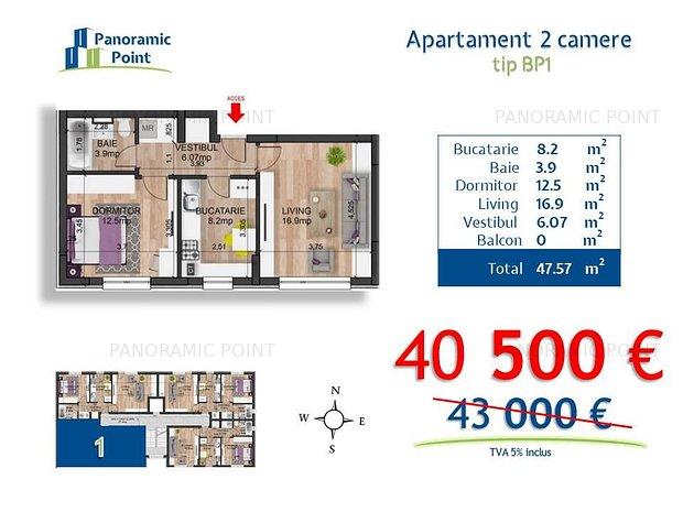 2 camere | bloc nou finalizat | zona Militari | pretul contine 2 500€ reducere - imaginea 1