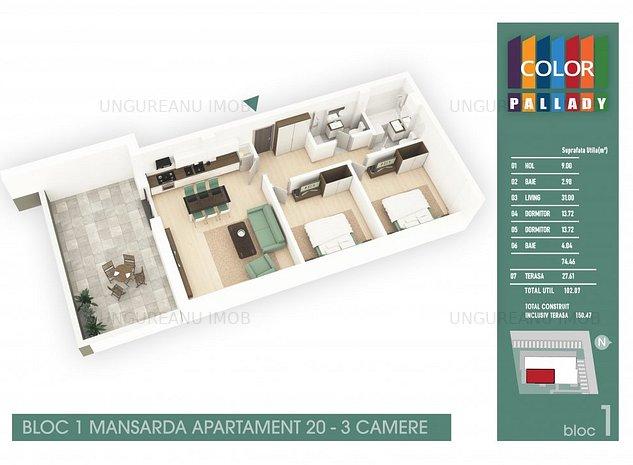 3 camere. Th.Pallady, str.Drum Gura Calitei - imaginea 1