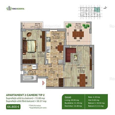 Apartament 2 Camere - Theodor Pallady (direct dezvoltator) - imaginea 2