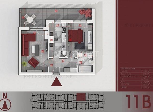 2 Camere decomandate-Bucatarie Inchisa-Terasa 16 mp-Parcare Subterana - imaginea 1