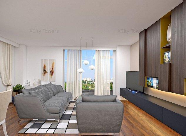 View pe 2 părți din XCity Towers: 2 camere, dressing + spațiu depozitare - imaginea 1