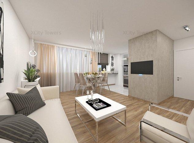 Cool living în XCity Towers: 2 camere, dressing și logie - imaginea 1