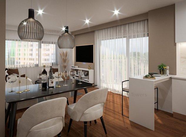 Preț lansare Tower 2: Apartament cu 3 camere. View pe 2 părți - imaginea 1