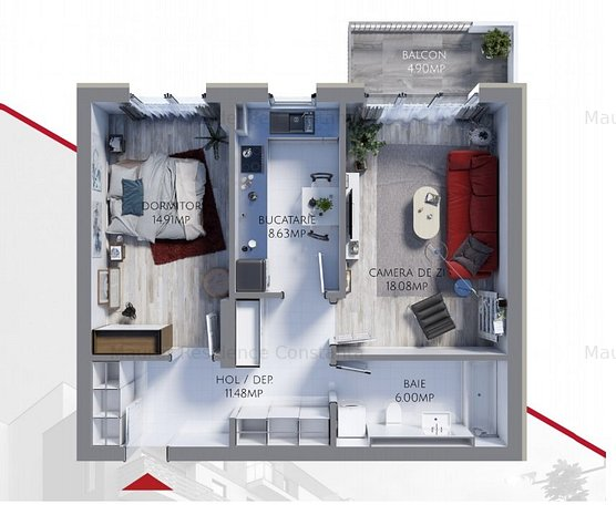 Apartament 2 camere bloc nou, Maurer Residence Constanta MR59.1 - imaginea 1