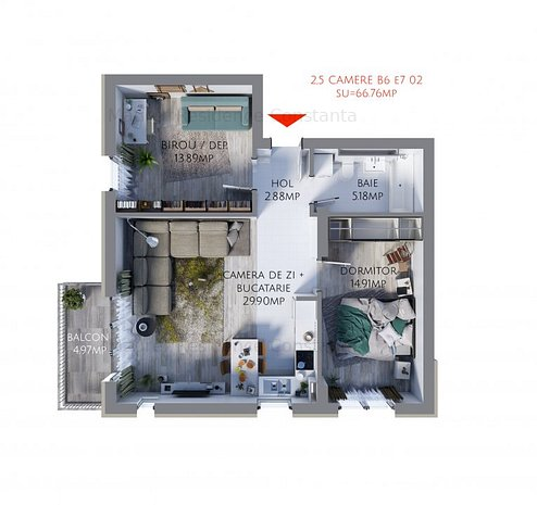 Apartament 2,5 Camere bloc nou, Maurer Residence Constanta, MR66 - imaginea 1