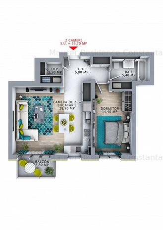 Maurer Residence Constanta- Apartament 2 camere MR56 - imaginea 1