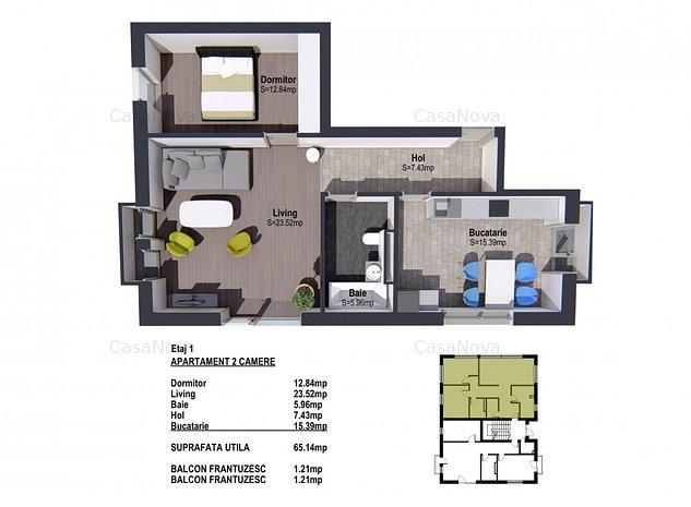 Apartament 2 camere confort sporit-Comision 0%- Universitas Apartements - imaginea 1