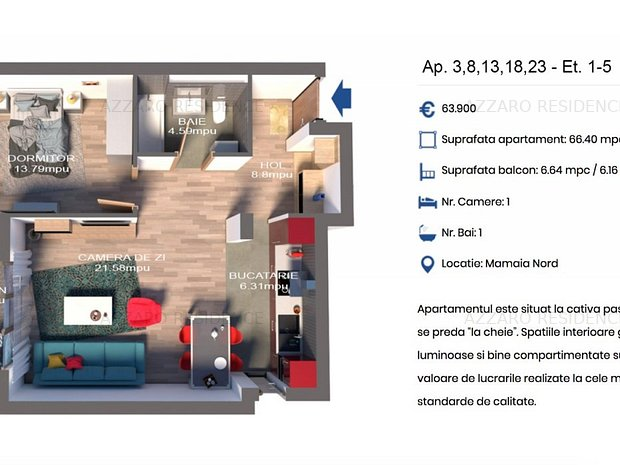 Apartament 2 camere,vedere laterala la mare#Dezvoltator#Azzaro-Residence - imaginea 2