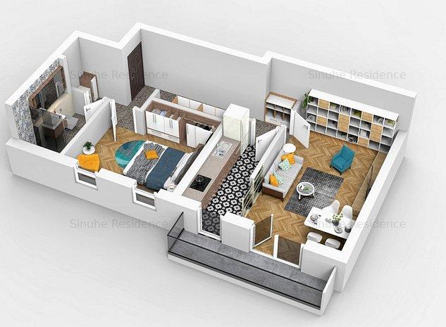 Ap 2 camere, decomandat, Ozone Residence, cartier Tractorul - imaginea 1