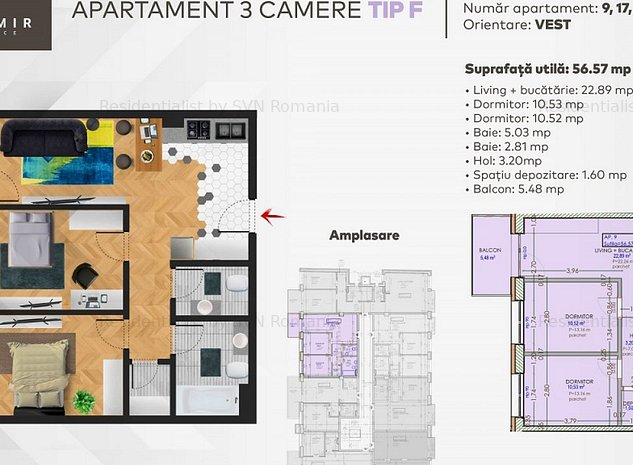 Apartament 3 camere: 1