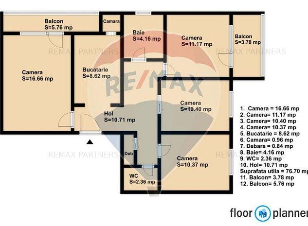 Apartament 4 camere decomandate, 76mpu +2 parcari, OMV - Aurel Vlaicu - imaginea 1
