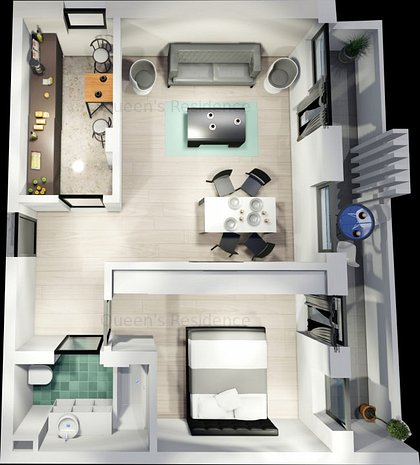 Campus-Queen's Residence, apartament 2 camere, balcon 10mp  - imaginea 1
