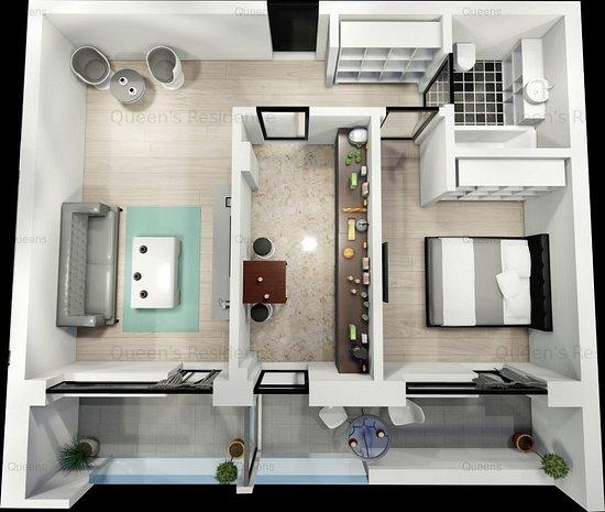 Campus-Queen's Residence, apartament 2 camere  - imaginea 1