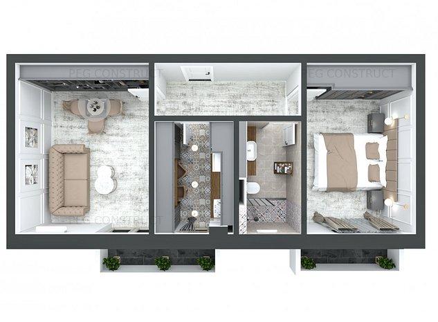 Apartament cu 2 balcoane la 2 camere si geam la baie. Pacurari Kaufland - imaginea 1