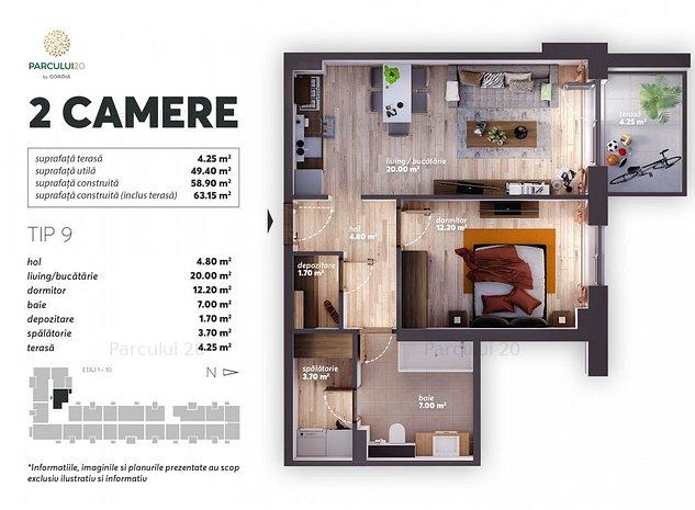 Apartament 2camere decomandat - imaginea 1