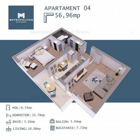 2 camere CENTRU - Metrou Mihai Bravu - Direct Dezvoltator Metropolitan Residence - imaginea 1