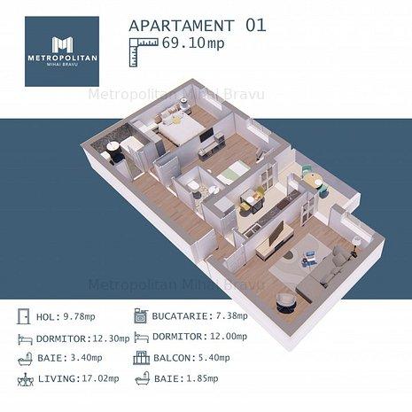 3 camere CENTRU - Metrou Mihai Bravu- Metropolitan Residence, comision 0 - imaginea 1
