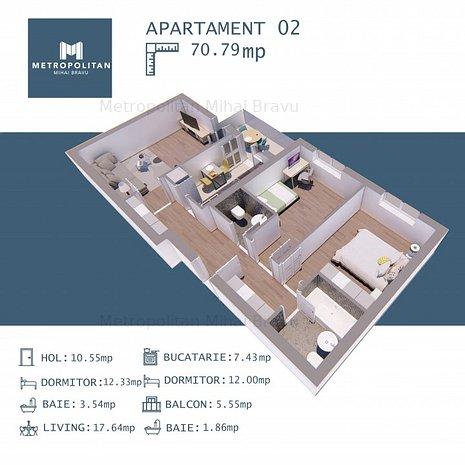 3 camere CENTRU - METROU Mihai Bravu - direct dezvoltator, comision 0. - imaginea 1