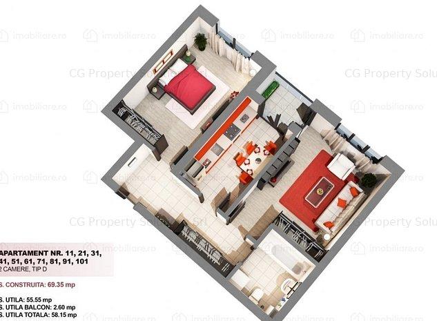 Apartament superb cu 2 camere, mobilat, intr-un bloc nou - imaginea 1