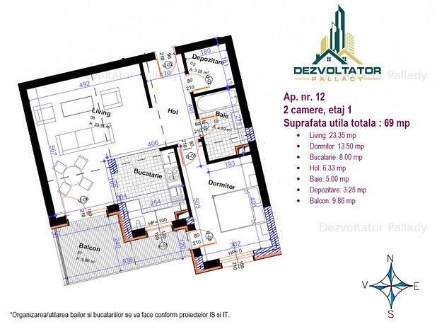 Vanzare Apartament 2 camere bloc nou - imaginea 1