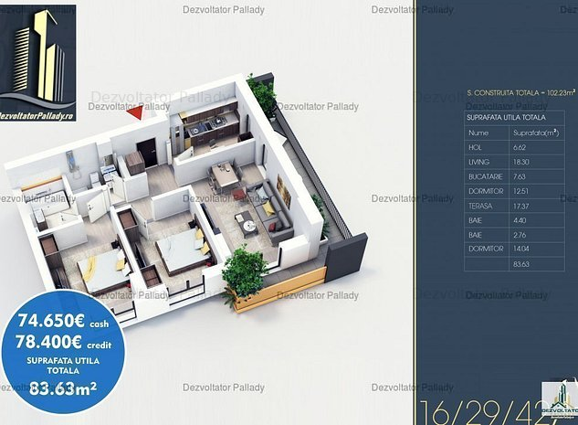 Apartament 3 Camere   Bloc Nou   Comision 0% - imaginea 1