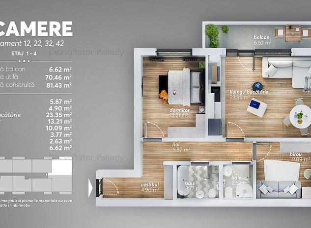 Apartament 3 camere, Finalizat, Metrou, Credit Noua Casa - imaginea 1
