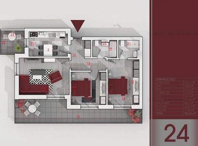 Apartament 3 camere, 100 mp, 88.000 euro, metrou - imaginea 1