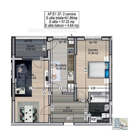 Apartament 2 camere, Ozana, Metrou Nicolae Teclu - imaginea 1