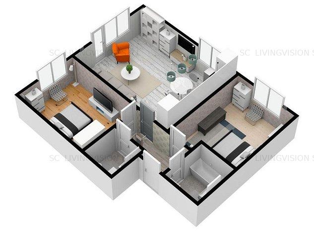 Apartament 3 camere 59.6 mp foarte avantajos - imaginea 1