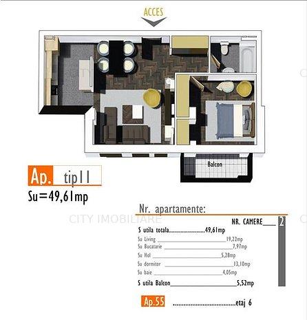 Apartament 2 camere, S utila 50 mp + 5 mp. balcon, Bloc NOU, Marasti - imaginea 1