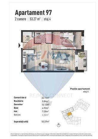 Vanzare apartament 2 camere, Marasti, 53 mpu, semifinisat, Nordum Res - imaginea 1