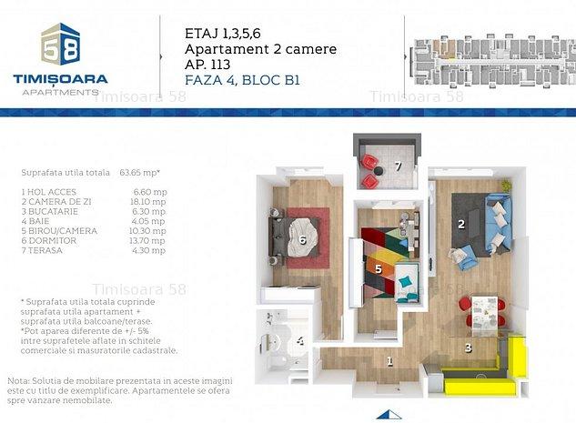 Apartament 2 cu functionalitate de 3 camere Gran Via, Timisoara 58 - imaginea 1