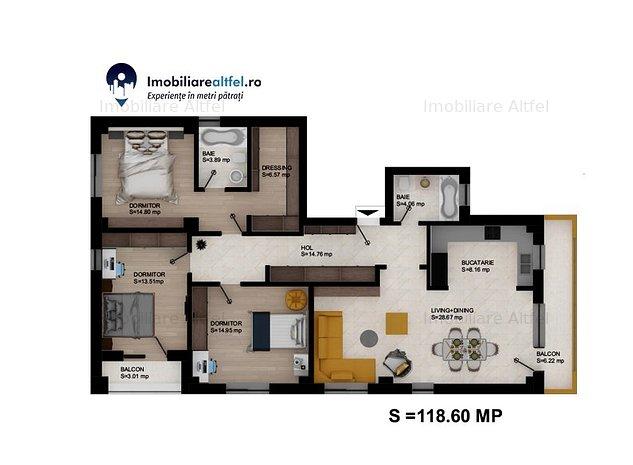4 camere open-space, 2 bai, bloc nou Nicolina Belvedere - imaginea 1