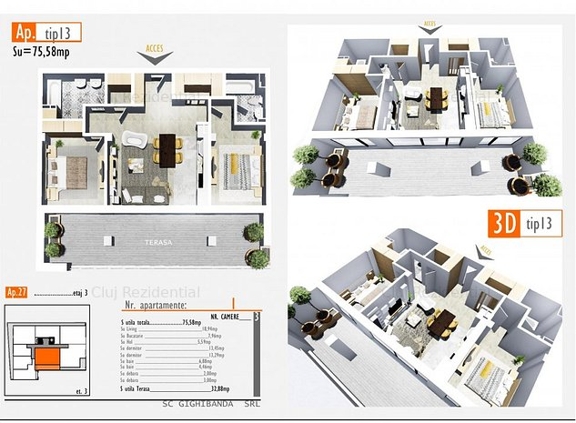 Apartament cu 3 camere - 120.000 euro - 0% comision - imaginea 1