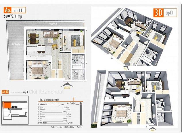 Apartament cu 3 camere - 109.800 euro - 0% comision - imaginea 1