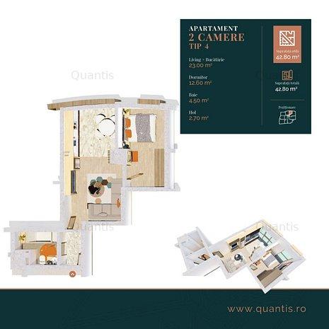 APARTAMENT 2 CAMERE TIP 4 • 42.80m² - imaginea 1