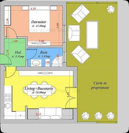 Apartament 2 camere si gradina, Popas Pacurari, 38 mp - imaginea 1